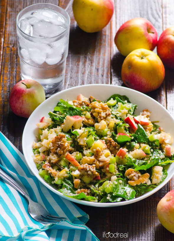 iFoodReal // Healthy Fall Recipes // Cinnamon Apple, Walnut, Kale, and Quinoa Salad