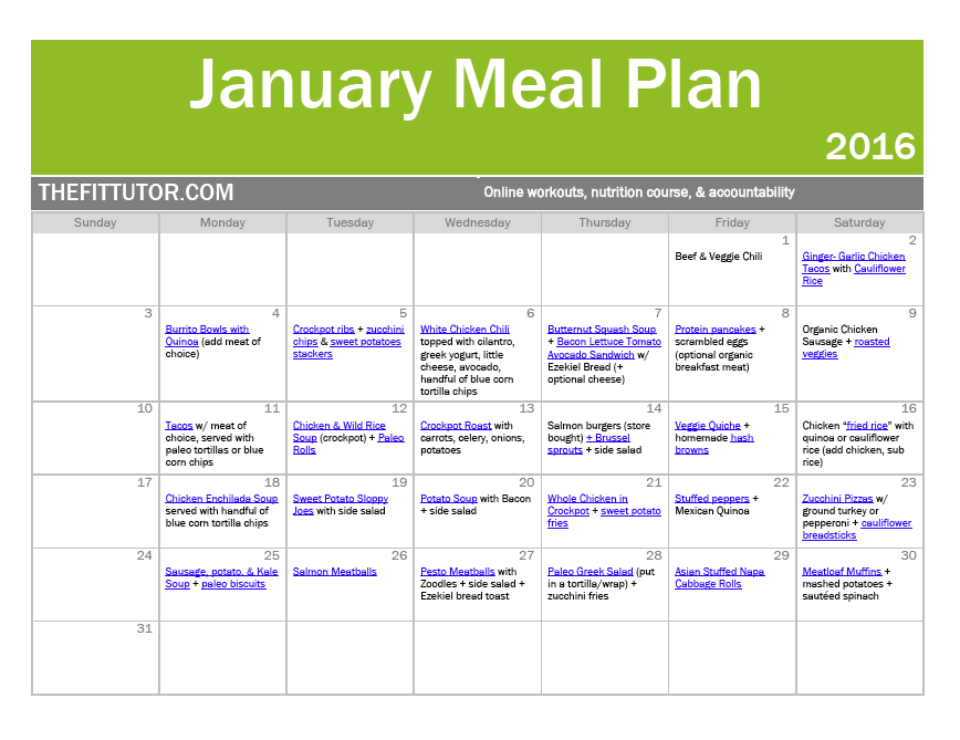 january healthy meal plan // online workouts and nutrition // thefittutor.com