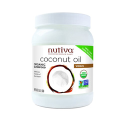 Every home needs coconut oil. This is a pure, organic, non-hydrogenated oil is one of the best you can get. It's a perfect vegan butter replacement, and is great for cooking and baking – but has a coconut flavor. It's also a great moisturizer and great for skin and body care, and even good to feed to your dog!