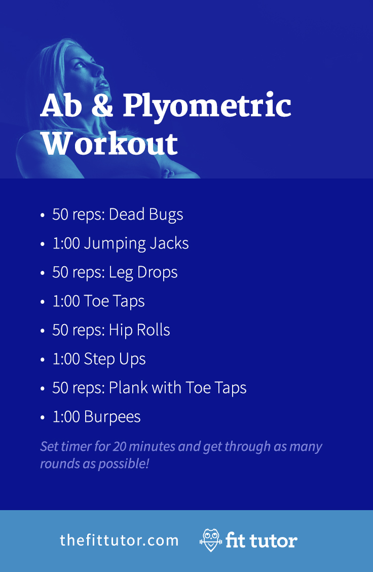 Do this killer ab workout and plyometric workout to strengthen your core, lose weight, and get great results! #fitness #workouts #abs #cardio #plyometrics #HIIT