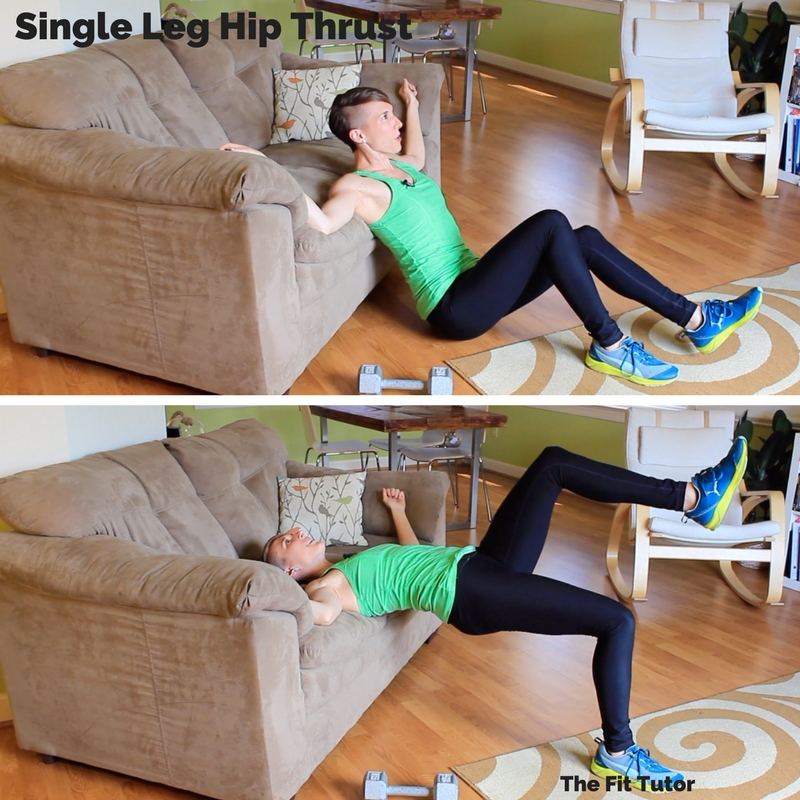 single leg hip thrusts are great exercises for runners to help correct muscle imbalances! Strength Exercises for runners