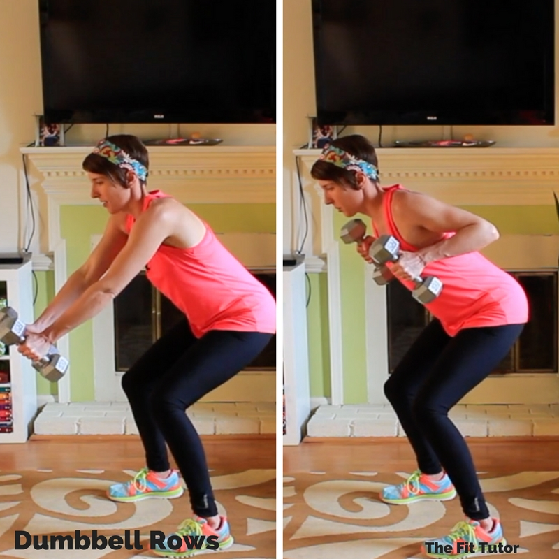 great exercises for runners: dumbbell row with squat hold // Strength Exercises for runners