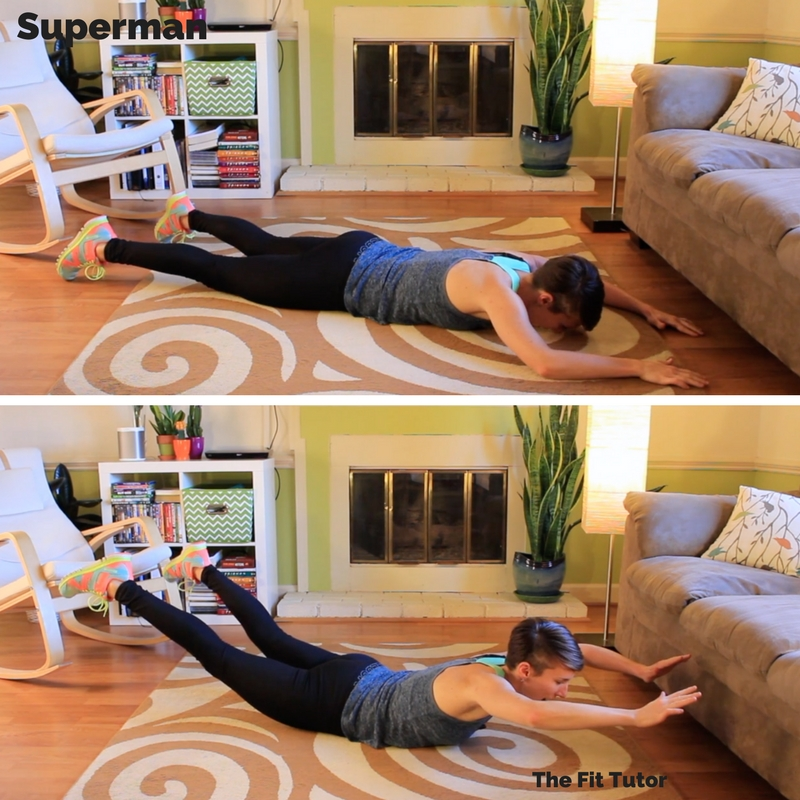 the superman exercise is a great exercise for runners to help strengthen posture muscles and improve endurance! Strength Exercises for runners