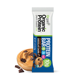these orgain protein bars have minimal sugar and 10 g of protein! they're yummy and are organic!