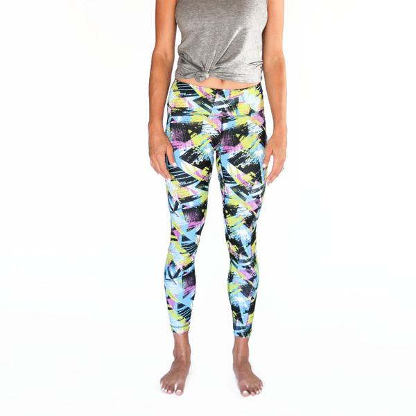 crowd-funded four athletic leggings - made in USA and work to eliminate waste! Such cute patterns!