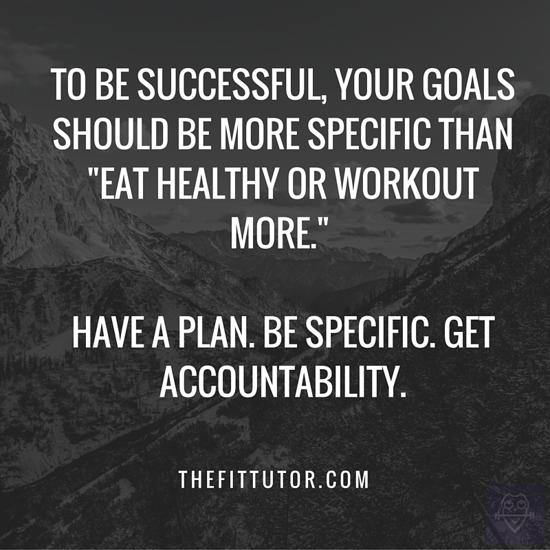 to be successful, your goals should be more specific than -Eat healthy or workout more.- Be specific. Have a plan. Get accountability.