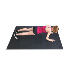The Barracuda Mat is the perfect way to do plyometrics and strength training at home- you can wear your shoes & it won't tear it up, and it's larger than the avg yoga mat!