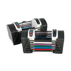 Powerblock Adjustable Dumbbells are great space savers & strength builders! These go up to 24 pounds