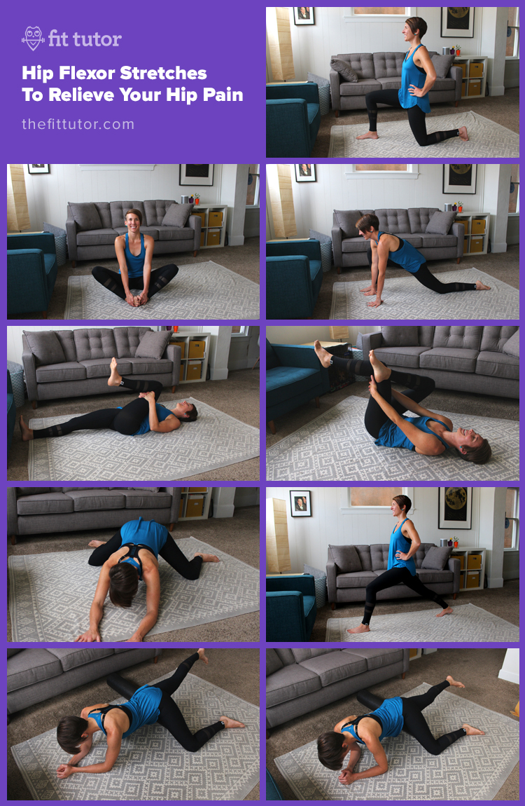 Try these hip flexor stretches to help relieve your tight hips and finally get relief! Bonus: these aren't crazy hard and you don't need to be flexible to do them! #hips #stretches