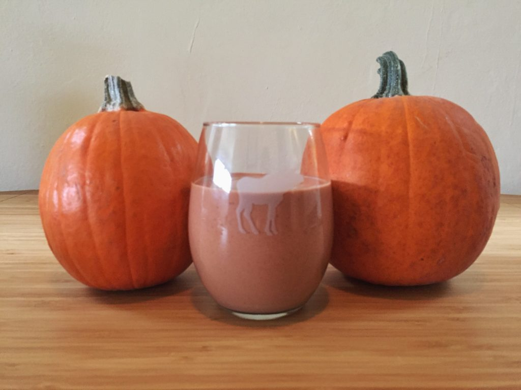 this pumpkin chocolate protein shake is everything you want this fall