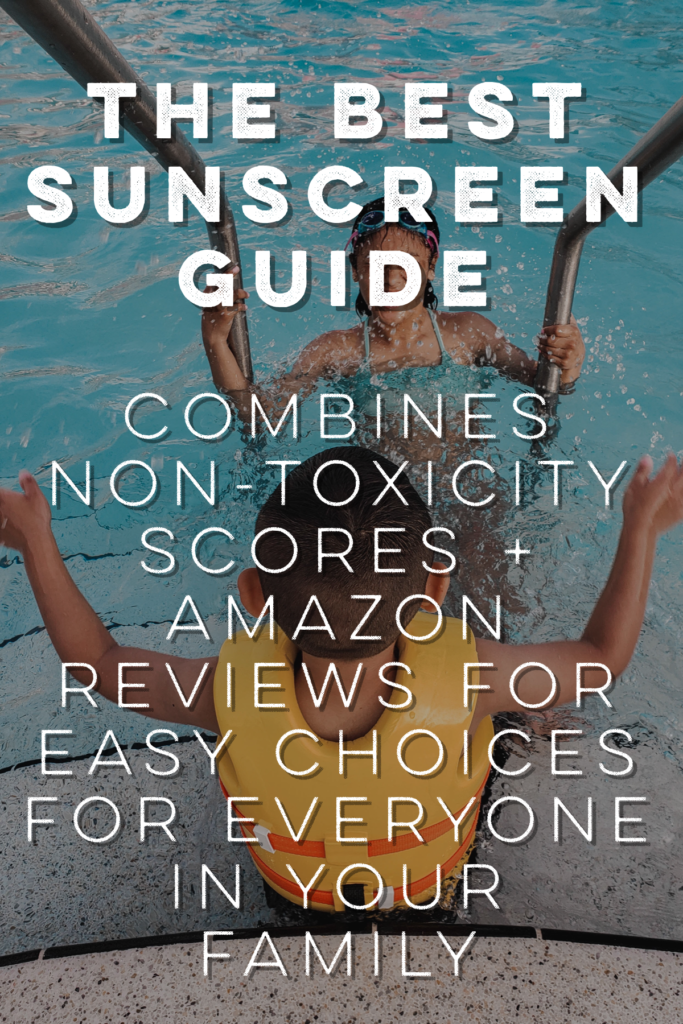 "Top rated sunscreens from EWG & Amazon, all listed with price per ounce. Categories include best mineral, best non-mineral, best spray, best kiddos, and best for someone who hates anything ""non-toxic"". Perfect for all family members! Check out this guide!"