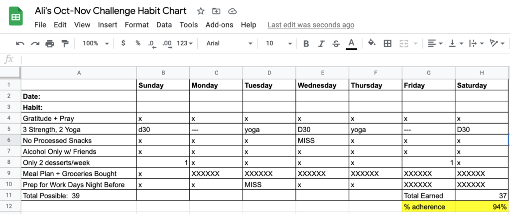 habit chart: new years fitness challenge